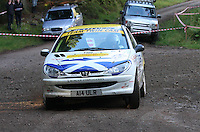 Des Campbell / Alex Orr at Junction 6, on Special Stage 1 Craigvinean in the Colin McRae Forest Stages Rally 2012, Round 8 of the RAC MSA Scotish Rally Championship which was organised by Coltness Car Club and based in Aberfeldy on 5.10.12.