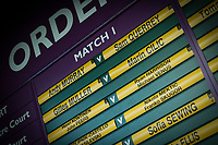A detail of the Order of Play<br /> <br /> Photographer Ashley Western/CameraSport<br /> <br /> Wimbledon Lawn Tennis Championships - Day 9 - Wednesday 12th July 2017 -  All England Lawn Tennis and Croquet Club - Wimbledon - London - England<br /> <br /> World Copyright &not;&copy; 2017 CameraSport. All rights reserved. 43 Linden Ave. Countesthorpe. Leicester. England. LE8 5PG - Tel: +44 (0) 116 277 4147 - admin@camerasport.com - www.camerasport.com