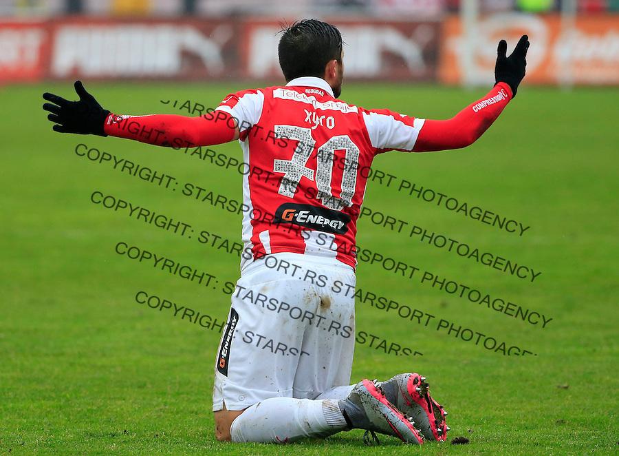 Fudbal Jelen Super League season 2015-2016<br /> Crvena Zvezda v Vozdovac<br /> Hugo Oliveira Vieira reacts<br /> Beograd, 28.11.2015.<br /> foto: Srdjan Stevanovic/Starsportphoto&copy;