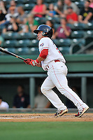 Catcher David Sopilka (12) of the Greenville Drive bats in a game against the Greensboro Grasshoppers on Thursday, August 27, 2015, at Fluor Field at the West End in Greenville, South Carolina. Greenville won, 10-2. (Tom Priddy/Four Seam Images)