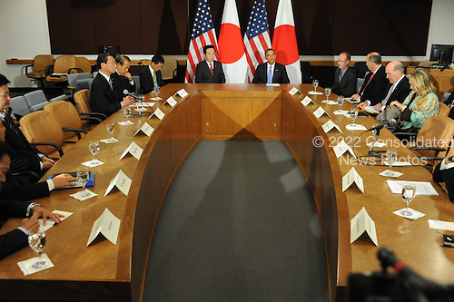 United States President Barack Obama, center right, meets Prime Minister Yoshihiko Noda of Japan, center left, Wednesday, September 21, 2011 at United Nations Headquarters in New York, New York..Credit: Aaron Showalter / Pool via CNP