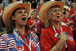 Texas delegates recite the pledge of allegiance on day two of the Republican National Convention at the XCel Center in Saint Paul, Minnesota on September 2, 2008.