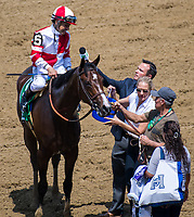 ELMONT, NY - JUNE 10: Mike Smith, aboard Songbird #5, is interviewed after winning the Ogden Phipps Stakes on Belmont Stakes Day at Belmont Park on June 10, 2017 in Elmont, New York (Photo by Dan Heary/Eclipse Sportswire/Getty Images)