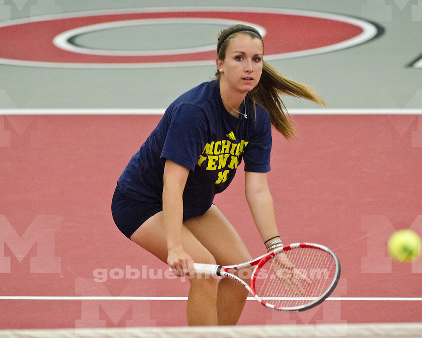 The University of Michigan women's tennis team defeated No. 20 Illinois, 4-0, at the 2012 Big Ten Tournament in Columbus, Ohio, on April 28, 2012.