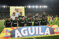 BOGOTÁ - COLOMBIA, 29-05-2018:Formación del  Atlético Nacional  durante el ecuentro  contra  el Atlético Huila,  partido por la primera semifinal ida de la Liga Águila I 2018 jugado en el estadio Nemesio Camacho El Campín de la ciudad de Bogotá. / Team of  Atletico Nacional   during match agaisnt of  Atletico Huila  , during the firts  match semifinal for the Liga Aguila I 2018 played at the Nemesio Camacho El Campin Stadium in Bogota city. Photo: VizzorImage / Felipe Caicedo / Staff