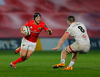 9th November 2019; Thomond Park, Limerick, Munster, Ireland; Guinness Pro 14 Rugby, Munster versus Ulster; Tyler Bleyendaal of Munster tries to get by Nick Timoney of Ulster - Editorial Use