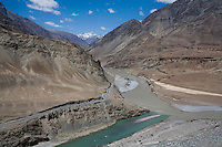 View of the meeting of 2 rivers with different colors and kinds of water on 3rd June 2009 on the way to Leh from Hemis and Ulley Valley, Ladakh, Jammu & Kashmir, Indian Himalayas. Photo by Suzanne Lee