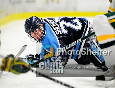 30 January 2010: University of Maine Black Bears' forward Adam Shemansky, a Freshman from Robbinsville, NJ, falls to the ice during a game against the University of Vermont Catamounts at Gutterson Fieldhouse in Burlington, Vermont. The Maine Black Bears and the Catamounts played to a 4-4 tie in the second game of their America East weekend series. Mandatory Credit: Ed Wolfstein Photo