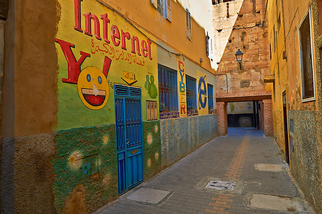 Internet Cafe in the the Medina. A UNESCO World Heritage Site. Meknes, Meknes-Tafilalet, Morocco.