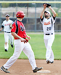 TORRINGTON CT. 04 Augusr 2017-080417SV04-#28 Tony Patane of Watertown Blaze checks the runner after catching the fly ball in the 4th inning against North Haledon Reds during the Stan Musial tournament in Torrington Friday.<br /> Steven Valenti Republican-American