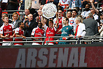 Granit Xhaka of Arsenal lifts the Shield after the The FA Community Shield match at Wembley Stadium, London. Picture date 6th August 2017. Picture credit should read: Charlie Forgham-Bailey/Sportimage