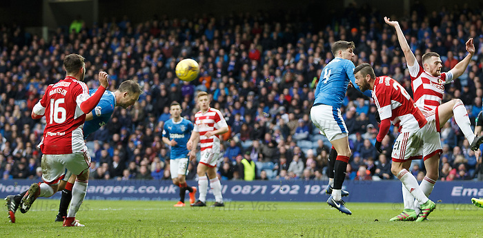 Clnt Hill heads in goal no 4 for Rangers