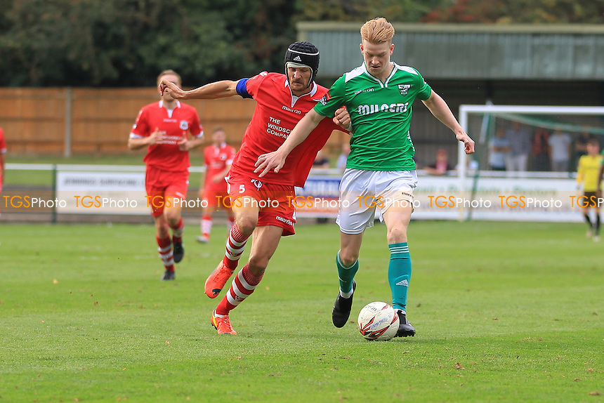 Ben Francis of Leatherhead battles with Ian Miller of Needham Market during Leatherhead vs Needham Market, Ryman League Premier Division Football at Fetcham Grove on 24th September 2016