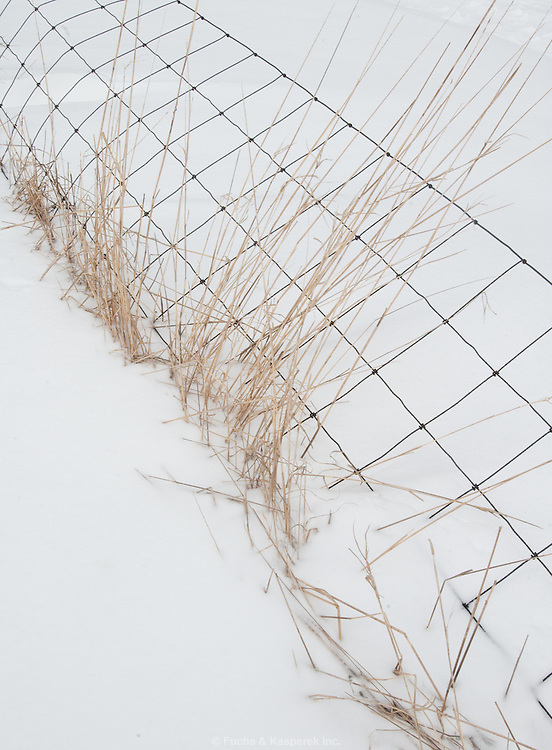 A wire fence creates a pattern in the snow.