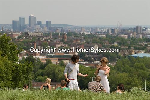 London city skyline.  Hampstead Heath, London NW3. England