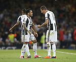 Mario Mandzukic of Juventus (r) celebrates his goal with Daniel Alves of Juventus during the Champions League Final match at the Millennium Stadium, Cardiff. Picture date: June 3rd, 2017.Picture credit should read: David Klein/Sportimage