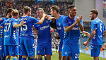 09.08.18 Rangers v Maribor: Jamie Murphy congratulated for his cross leading to goal no 3 for Lassana Coulibaly