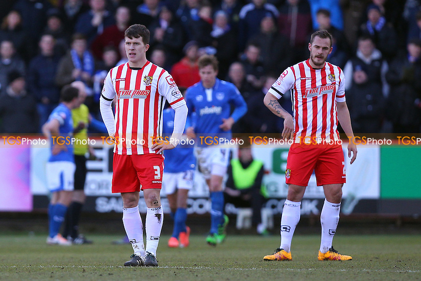 Despair for Lee Cox (L) and Luke Wilkinson of Stevenage after Portsmouth score their first goal during Stevenage vs Portsmouth, Sky Bet League 2 Football at the Lamex Stadium, Stevenage