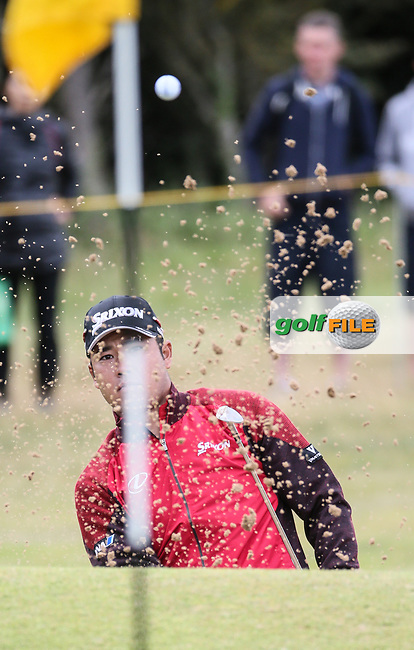 Hideki Matsuyana (JPN) plays out of the bunker on the 4th during Thursday's Round One at The 146th Open played at Royal Birkdale, Southport, England.  20/07/2017. Picture: David Lloyd | Golffile.<br /> <br /> Images must display mandatory copyright credit - (Copyright: David Lloyd | Golffile).