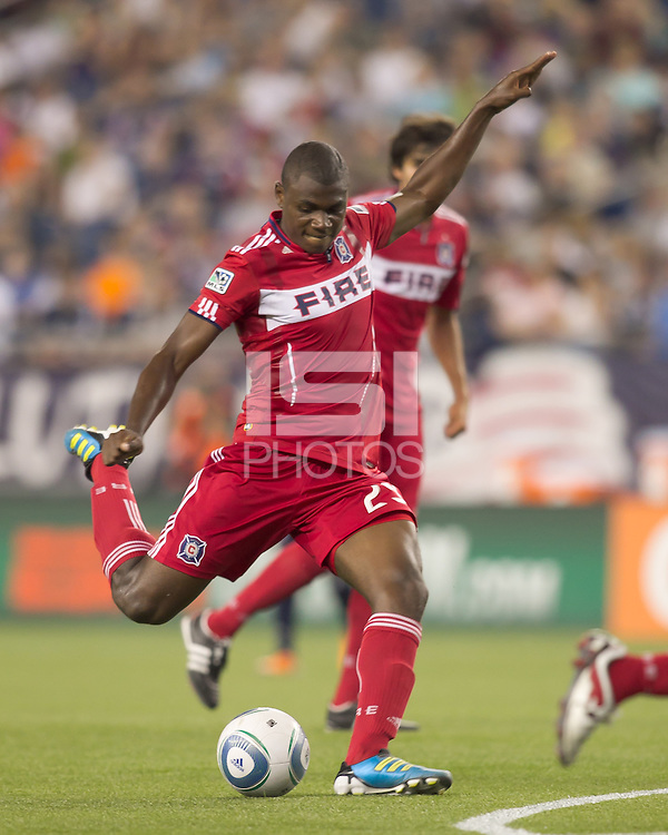 Chicago Fire forward Cristian Nazarit (29) takes a shot. In a Major League Soccer (MLS) match, the New England Revolution tied the Chicago Fire, 1-1, at Gillette Stadium on June 18, 2011.