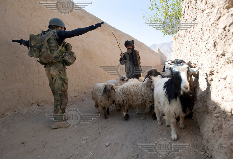 A Dutch soldier of the 11th Infantry Air Assault Battalion from ISAF (the International Security Assistance Force) tells a shepherd to prepare for a body search. ISAF is a peacekeeping mission affiliated to the United Nations (UN) and NATO. .