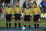 05 December 2008: Match Officials. From left: Assistant Referee Jorge Cuate, Fourth Official Colin Arblaster, Referee Rachel Woo, Fourth Official George Vergara. The Notre Dame Fighting Irish defeated the Stanford Cardinal 1-0 at WakeMed Soccer Park in Cary, NC in an NCAA Division I Women's College Cup semifinal game.