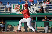 Batavia Muckdogs designated hitter Michael Donadio (7) grounds out during a game against the West Virginia Black Bears on June 19, 2018 at Dwyer Stadium in Batavia, New York.  West Virginia defeated Batavia 7-6.  (Mike Janes/Four Seam Images)