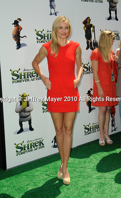 """UNIVERSAL CITY, CA. - May 16: Cameron Diaz arrives at the """"Shrek Forever After"""" Los Angeles Premiere at Gibson Amphitheatre on May 16, 2010 in Universal City, California."""