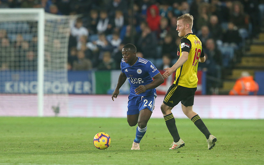 Leicester City's Nampalys Mendy avoids the challenge from Watford's Will Hughes <br /> <br /> Photographer Stephen White/CameraSport<br /> <br /> The Premier League - Leicester City v Watford - Saturday 1st December 2018 - King Power Stadium - Leicester<br /> <br /> World Copyright © 2018 CameraSport. All rights reserved. 43 Linden Ave. Countesthorpe. Leicester. England. LE8 5PG - Tel: +44 (0) 116 277 4147 - admin@camerasport.com - www.camerasport.com