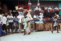 Women shopping at the market  of the capital,Port au Prince, Haiti 1975