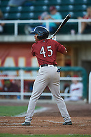 Idaho Falls Chukars Tyler James<br />  (45) at bat during a Pioneer League game against the Orem Owlz at The Home of the OWLZ on August 13, 2019 in Orem, Utah. Orem defeated Idaho Falls 3-1. (Zachary Lucy/Four Seam Images)