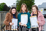 Maeve Tangney, Kasia Kelka and Laoise Geaney celebrate getting their Leaving Cert results in Killarney Presentation on Tuesday