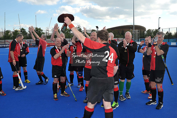 THOMPSON Brian (Captain, Bowdon) celebrates with the trophy. Bournemouth v Bowdon (Men's Over 50's Shield Final). Pitch 2. Men's Knockout Finals 2017. Lee Valley Hockey and Tennis Centre. London. UK. 29/04/2017. ~ MANDATORY CREDIT Garry Bowden/SIPPA - NO UNAUTHORISED USE - +44 7837 394578