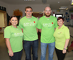 25/10/2014.   Munster Rugby's Tommy O'Donnell an ambassador of iCAN (Irish Childrens Arthritis Network) photographed on Saturday in Kids Town, Gillogue with 3 of the committee Wendy Costello, Fergus Pearse and Finait Mitchell.<br /> Picture: Liam Burke/Press 22