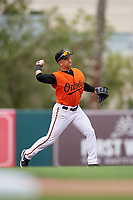 GCL Orioles second baseman Andrew Martinez (6) throws to first base during a Gulf Coast League game against the GCL Braves on August 5, 2019 at Ed Smith Stadium in Sarasota, Florida.  GCL Orioles defeated the GCL Braves 4-3 in the first game of a doubleheader.  (Mike Janes/Four Seam Images)