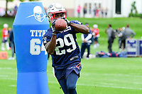 June 7, 2017: New England Patriots defensive back D.J. Killings (29) catches the ball at the New England Patriots mini camp held on the practice field at Gillette Stadium, in Foxborough, Massachusetts. Eric Canha/CSM