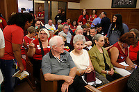 NWA Media/DAVID GOTTSCHALK - 8/19/14 - The Fayetteville City Administration Building August 19 , 2014 during the Fayetteville City Council  meeting. The public comment section of the meeting  drew a large public turnout and response to a proposed anti-discrimination ordinance sponsored by Ward 2 Alderman MatthewPetty which would prohibit certain types ofdiscrimination based on sexualorientation and gender identity and would create a municipal civilrights administrator position.