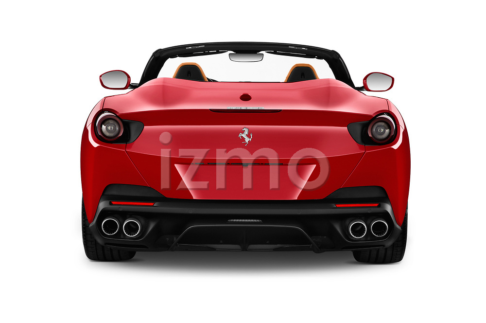 Straight rear view of a 2018 Ferrari Portofino base 2 Door Convertible stock images