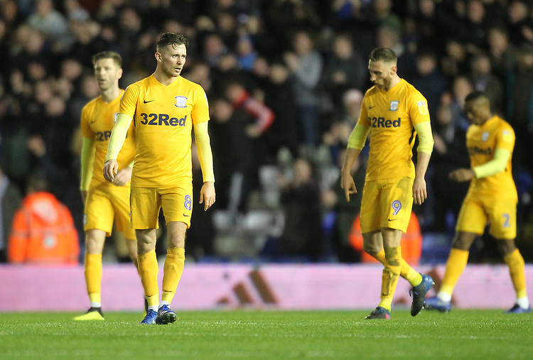 Preston North End's players look dejected<br /> <br /> Photographer Mick Walker/CameraSport<br /> <br /> The EFL Sky Bet Championship - Birmingham City v Preston North End - Saturday 1st December 2018 - St Andrew's - Birmingham<br /> <br /> World Copyright © 2018 CameraSport. All rights reserved. 43 Linden Ave. Countesthorpe. Leicester. England. LE8 5PG - Tel: +44 (0) 116 277 4147 - admin@camerasport.com - www.camerasport.com
