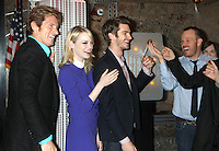 June 25, 2012 Denis Leary, Emma Stone and Andrew Garfield, of The Amazing Spider-man film, attend the lighting ceremony  to support Stand Up to Cancer at the Empire State Building in New York City. &copy; RW/MediaPunch Inc. **NORTEPHOTO.COM*<br />