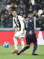 Football Soccer: UEFA Champions League -Group Stage-  Group H - Juventus vs Manchester United, Allianz Stadium. Turin, Italy, November 07, 2018.<br /> Juventus' Cristiano Ronaldo (l) in action with Manchester United's Chris Smalling (r) during the Uefa Champions League football soccer match between Juventus and Manchester United at Allianz Stadium in Turin, November 07, 2018.<br /> UPDATE IMAGES PRESS