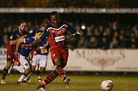 Chris Dickson of Hampton & Richmond Borough scores from the penalty and celebrates during Hampton & Richmond Borough vs Oldham Athletic, Emirates FA Cup Football at the Beveree Stadium on 12th November 2018