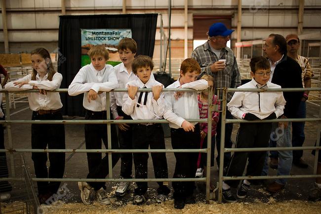 Children show their chickens at the Montana Fair. Bilings, Montana, USA, August 9, 2009