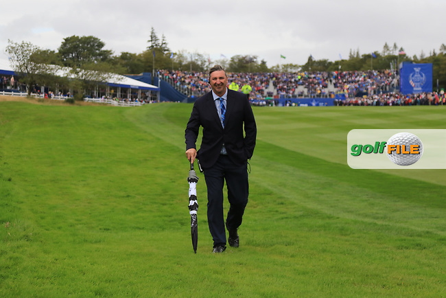 Kevin Feeney (Referree) on the 1st during Day 3 Singles at the Solheim Cup 2019, Gleneagles Golf CLub, Auchterarder, Perthshire, Scotland. 15/09/2019.<br /> Picture Thos Caffrey / Golffile.ie<br /> <br /> All photo usage must carry mandatory copyright credit (© Golffile | Thos Caffrey)