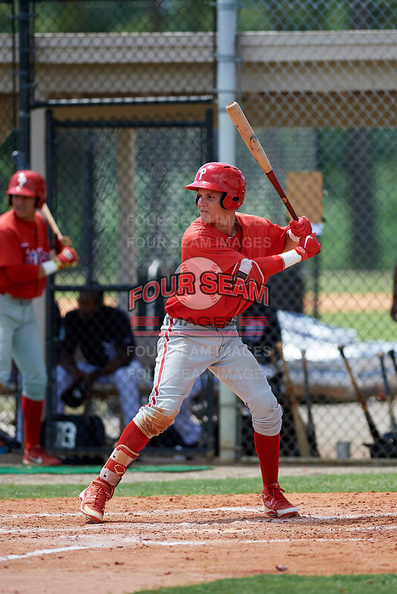 GCL Phillies designated hitter Simon Muzziotti (31) at bat during a game against the GCL Tigers East on July 25, 2017 at TigerTown in Lakeland, Florida.  GCL Phillies defeated the GCL Tigers East 4-1.  (Mike Janes/Four Seam Images)