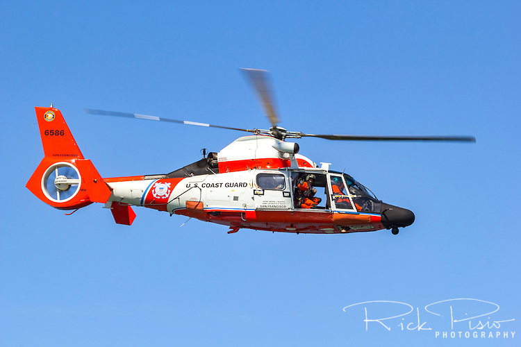 USCG HH-65 Dolphins from Air Station San Francisco in flight.