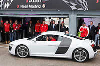 Real Madrid player Cristiano Ronaldo participates and receives new Audi during the presentation of Real Madrid's new cars made by Audi at the Jarama racetrack on November 8, 2012 in Madrid, Spain.(ALTERPHOTOS/Harry S. Stamper) .<br />