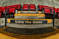 General view of 'Enjoy the Game' painted on steps inside Sixfields Stadium, home of Northampton Town Football Club ahead of the Sky Bet League 2 match between Northampton Town and Morecambe at Sixfields Stadium, Northampton, England on 23 January 2016. Photo by David Horn / PRiME Media Images.