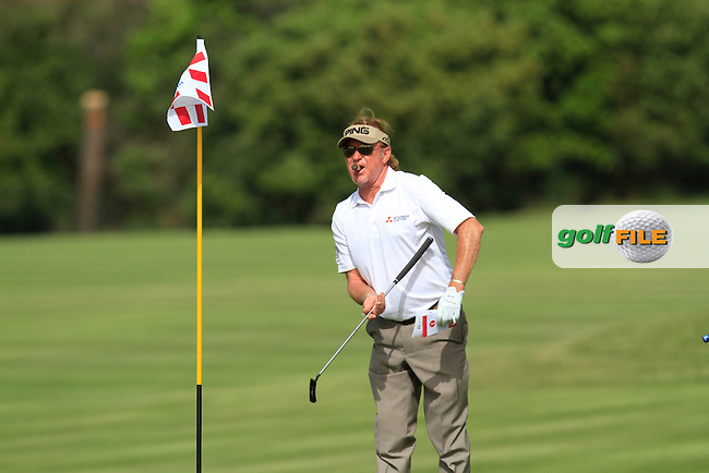 Miguel Angel Jimenez (ESP) on the 5th green during the Pro-Am of the Open de Espana  in Club de Golf el Prat, Barcelona on Wednesday 13th May 2015.<br /> Picture:  Thos Caffrey / www.golffile.ie