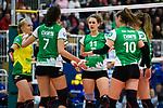 05.10.2019, Halle Berg Fidel, Muenster<br />Volleyball, Bundesliga Frauen, Normalrunde, USC MŸnster / Muenster vs. Allianz MTV Stuttgart<br /><br />Linda Bock (#1 Muenster), Ivana Vanjak (#7 Muenster), Barbara Roxana Wezorke (#11 Muenster), Sarah Emma van Aalen (#10 Muenster), Liza Kastrup (#5 Muenster) enttŠuscht / enttaeuscht / traurig <br /><br />  Foto © nordphoto / Kurth